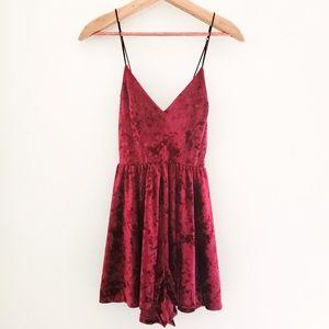 Silence + Noise Red Crushed Velvet Romper Dress